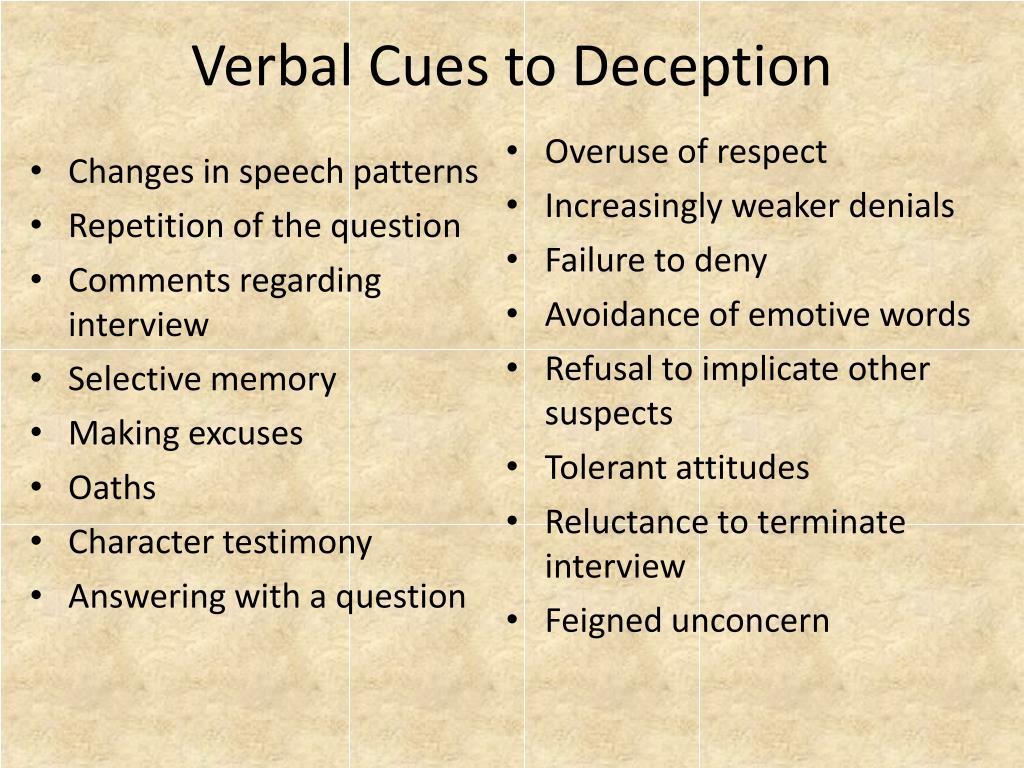 Verbal Cues to Deception