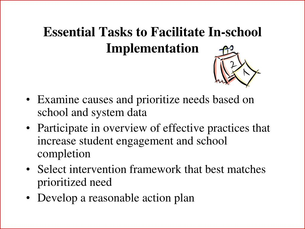Essential Tasks to Facilitate In-school Implementation
