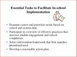 essential tasks to facilitate in school implementation83