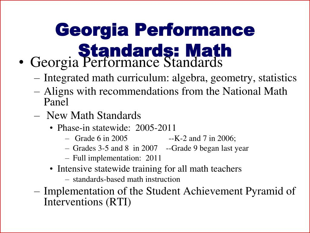 Georgia Performance Standards: Math