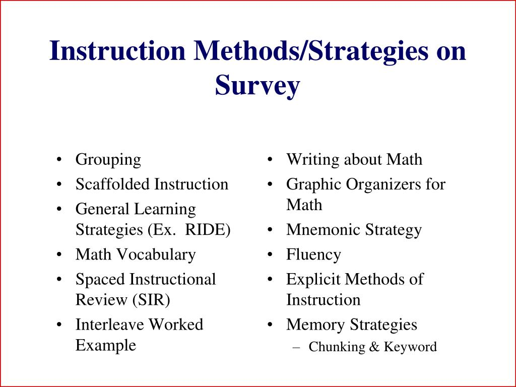 Instruction Methods/Strategies on Survey