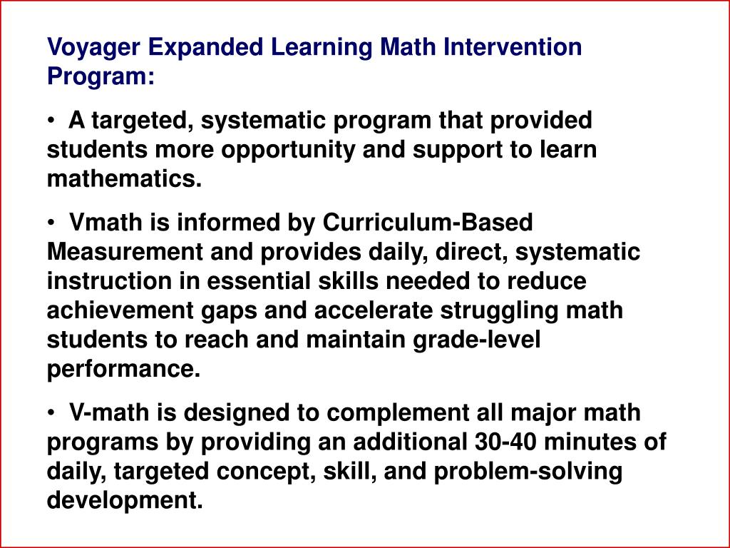Voyager Expanded Learning Math Intervention Program: