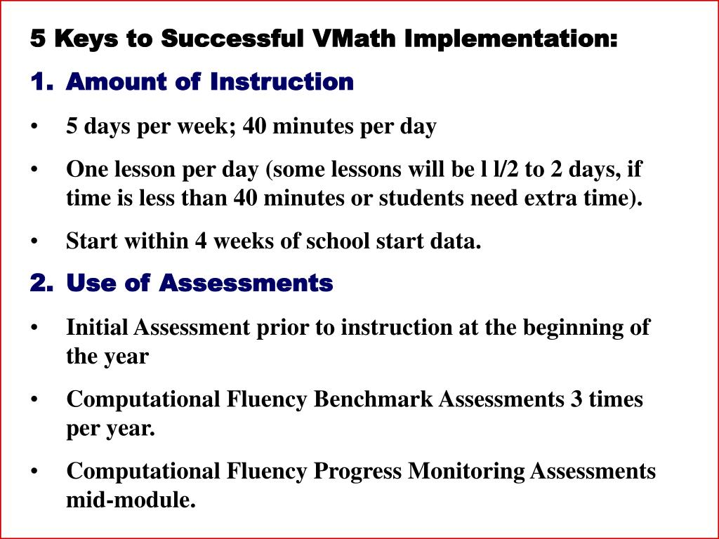 5 Keys to Successful VMath Implementation:
