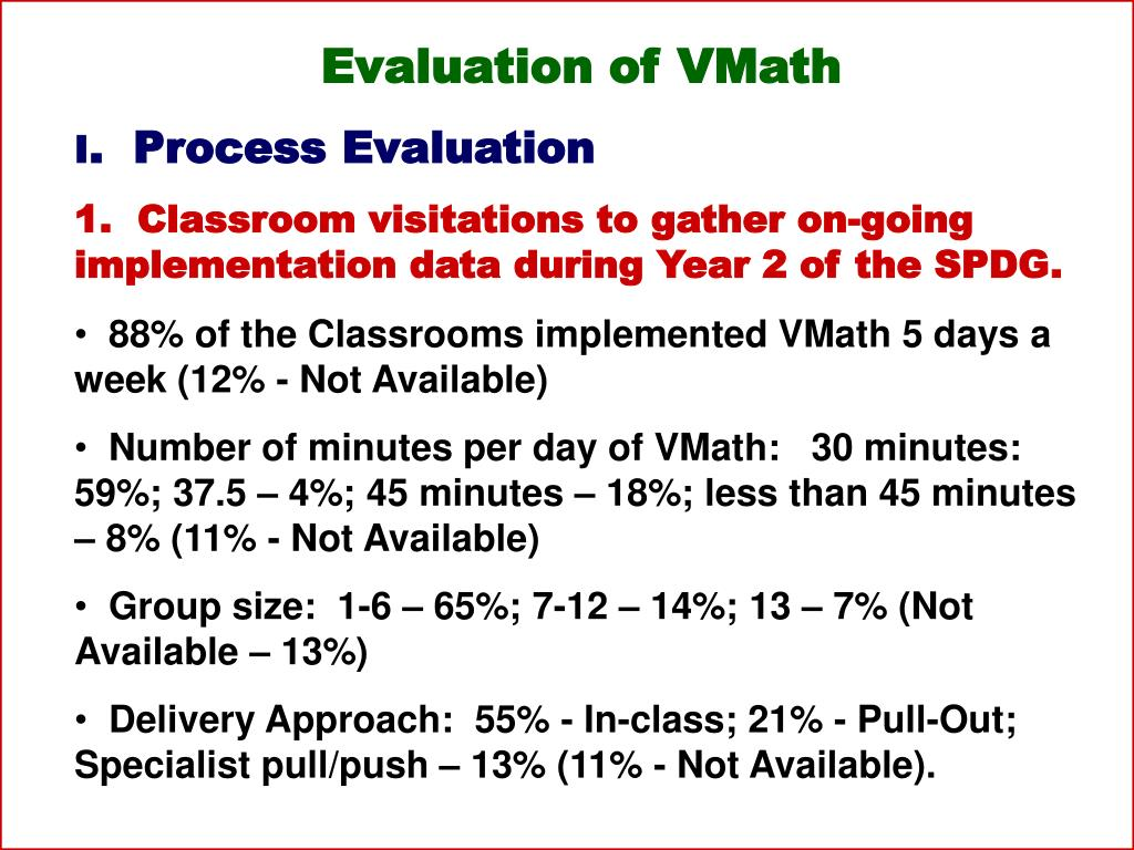 Evaluation of VMath