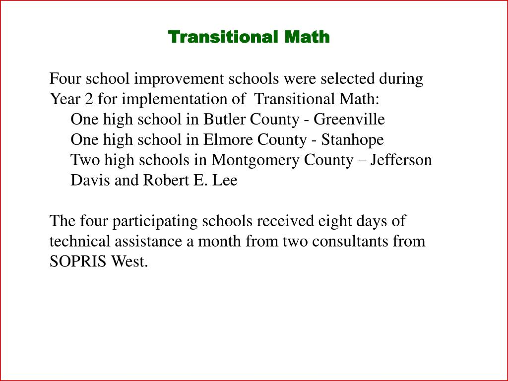 Transitional Math