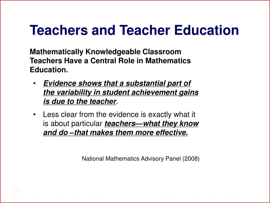 Teachers and Teacher Education