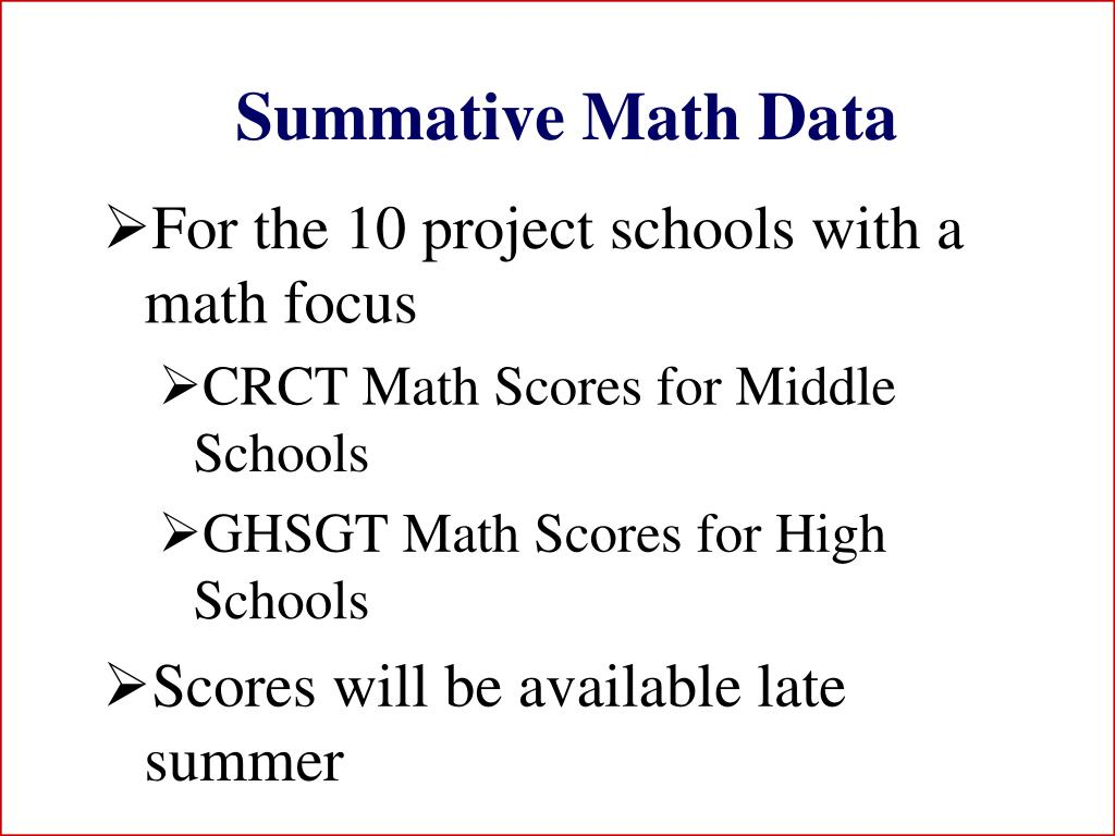 Summative Math Data