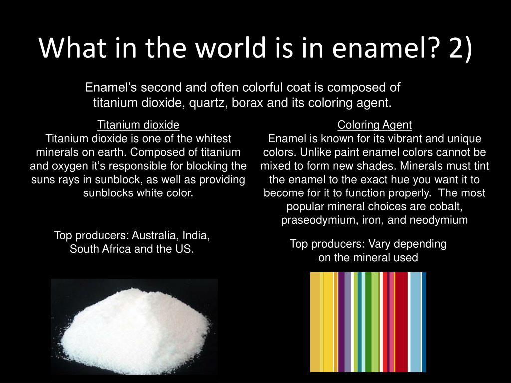 What in the world is in enamel? 2)