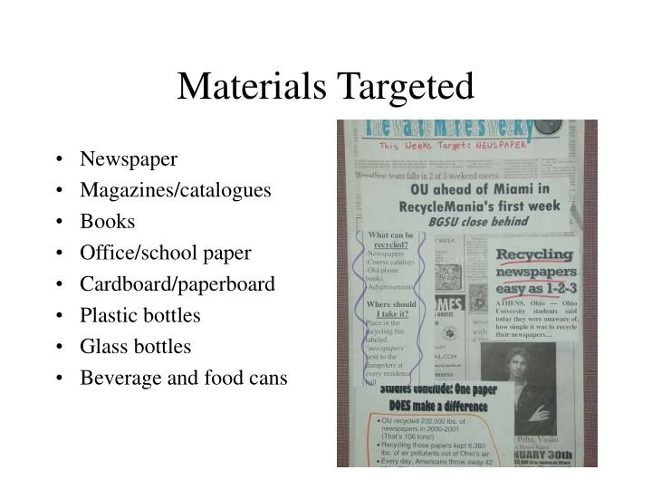 Materials Targeted