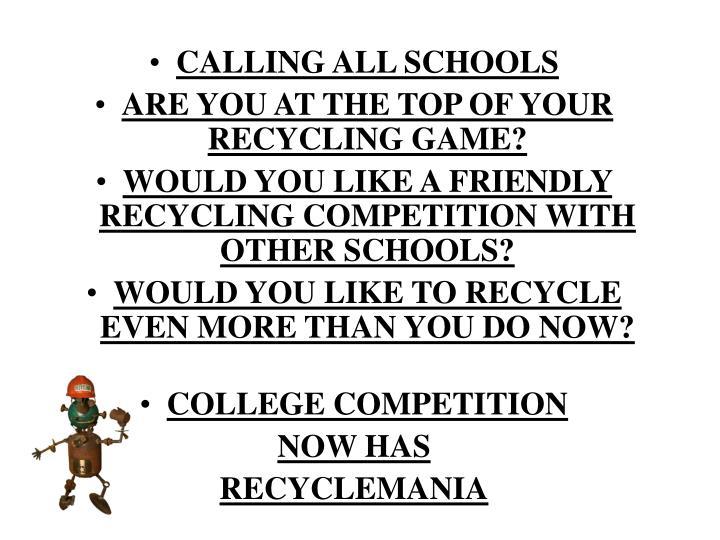 CALLING ALL SCHOOLS