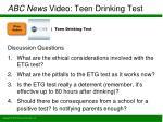 abc news video teen drinking test