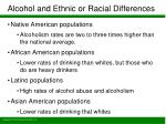 alcohol and ethnic or racial differences