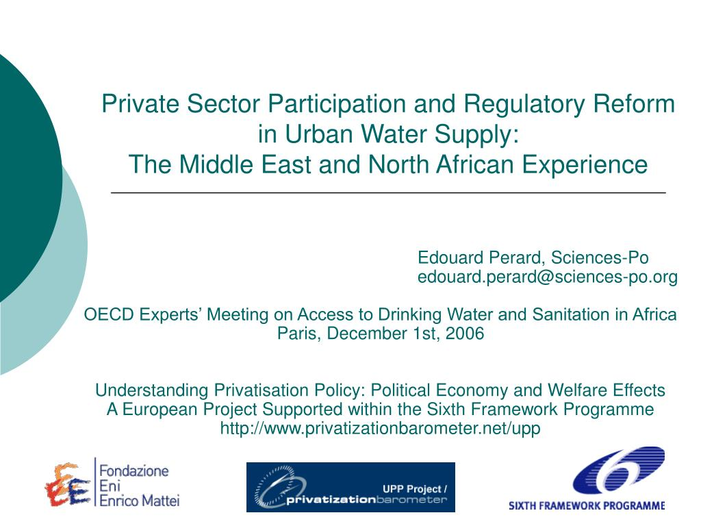 Private Sector Participation and Regulatory Reform in Urban Water Supply:
