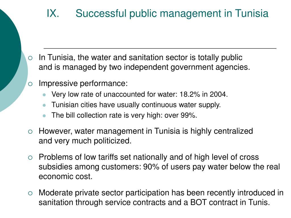 Successful public management in Tunisia