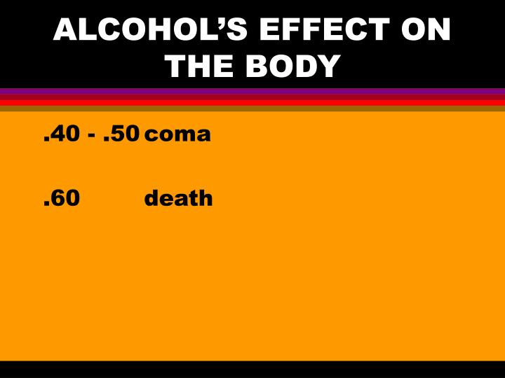 ALCOHOL'S EFFECT ON THE BODY