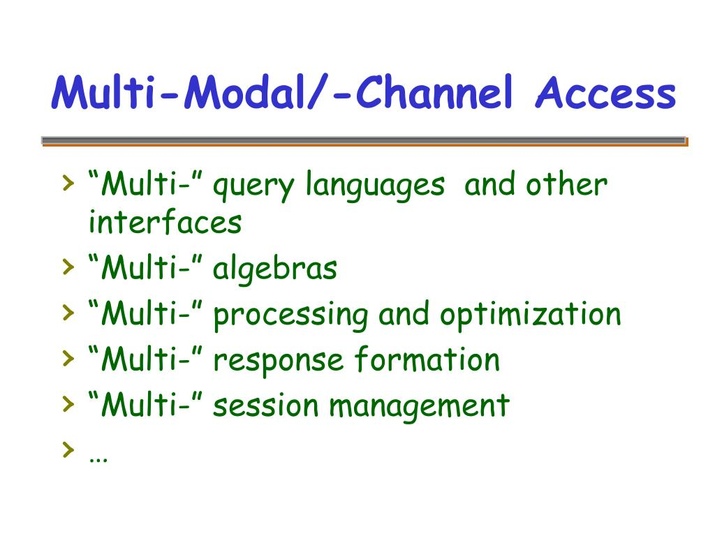 Multi-Modal/-Channel Access