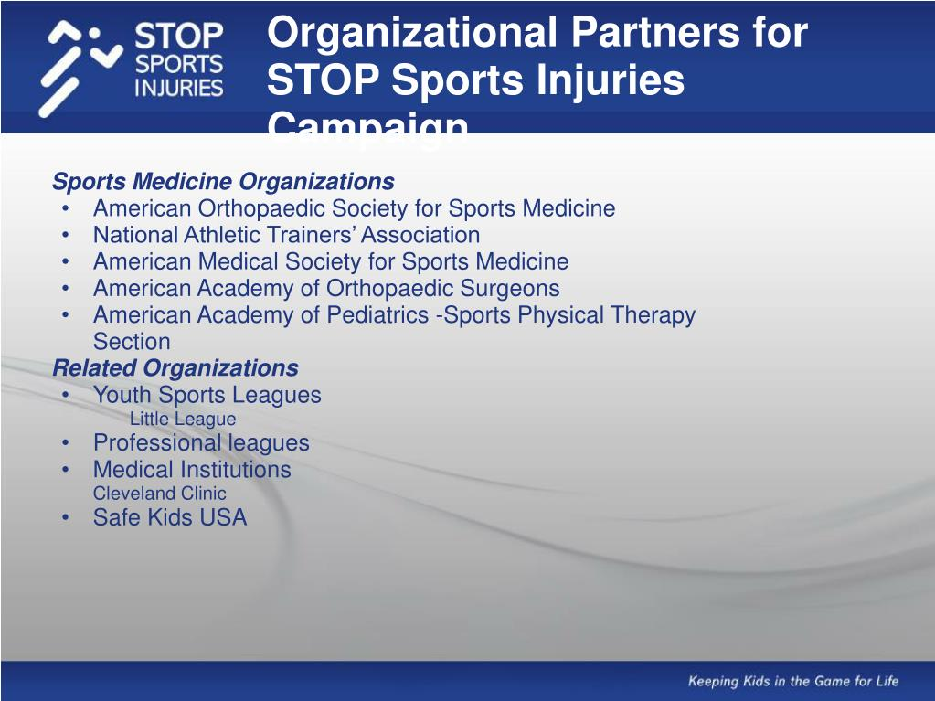 Organizational Partners for STOP Sports Injuries Campaign