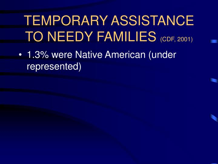 Temporary assistance to needy families cdf 2001