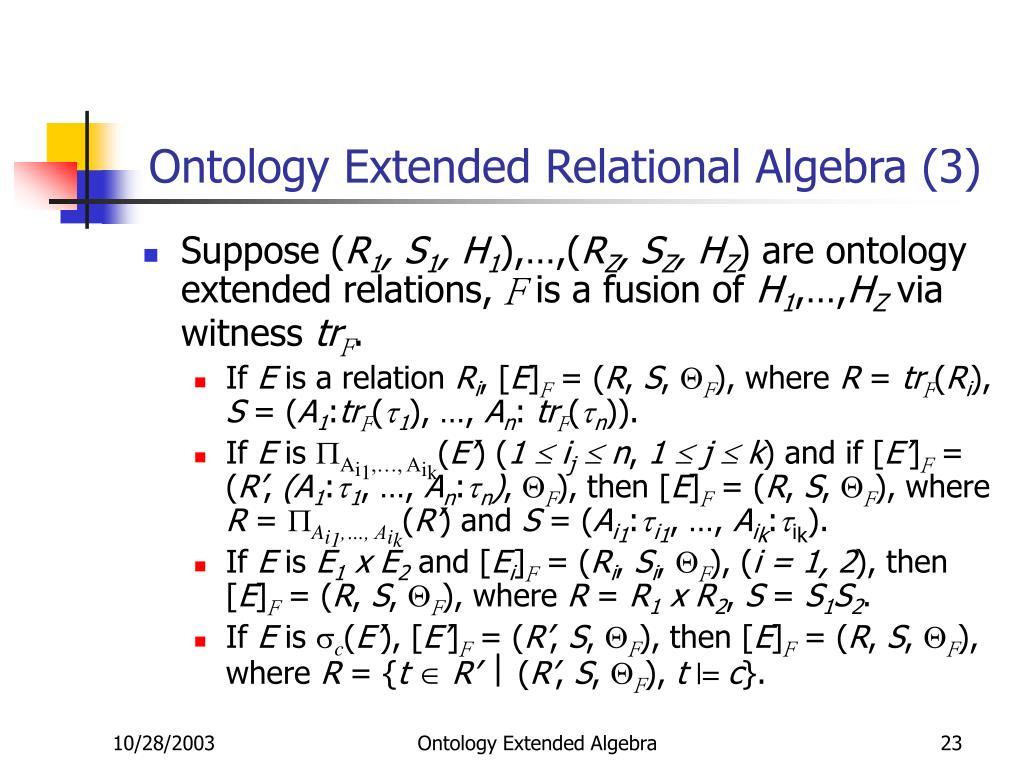 Ontology Extended Relational Algebra (3)
