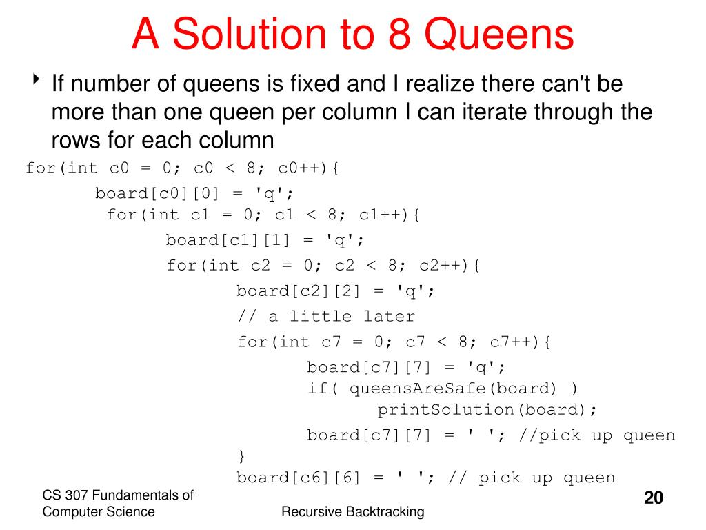 A Solution to 8 Queens