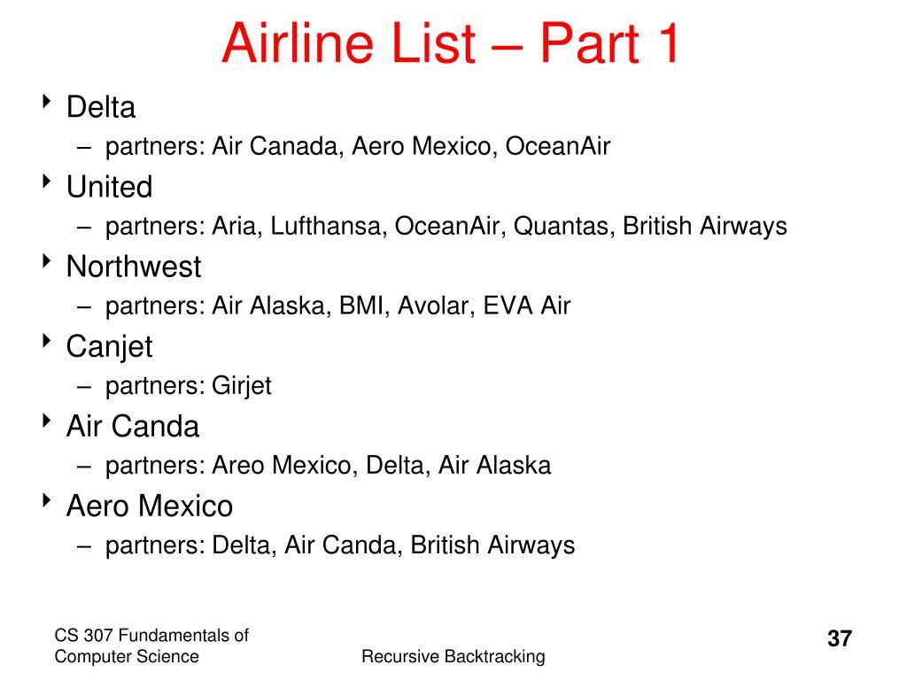 Airline List – Part 1