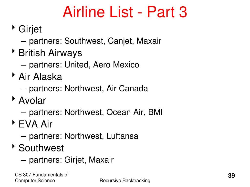Airline List - Part 3