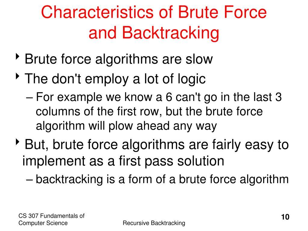 Characteristics of Brute Force