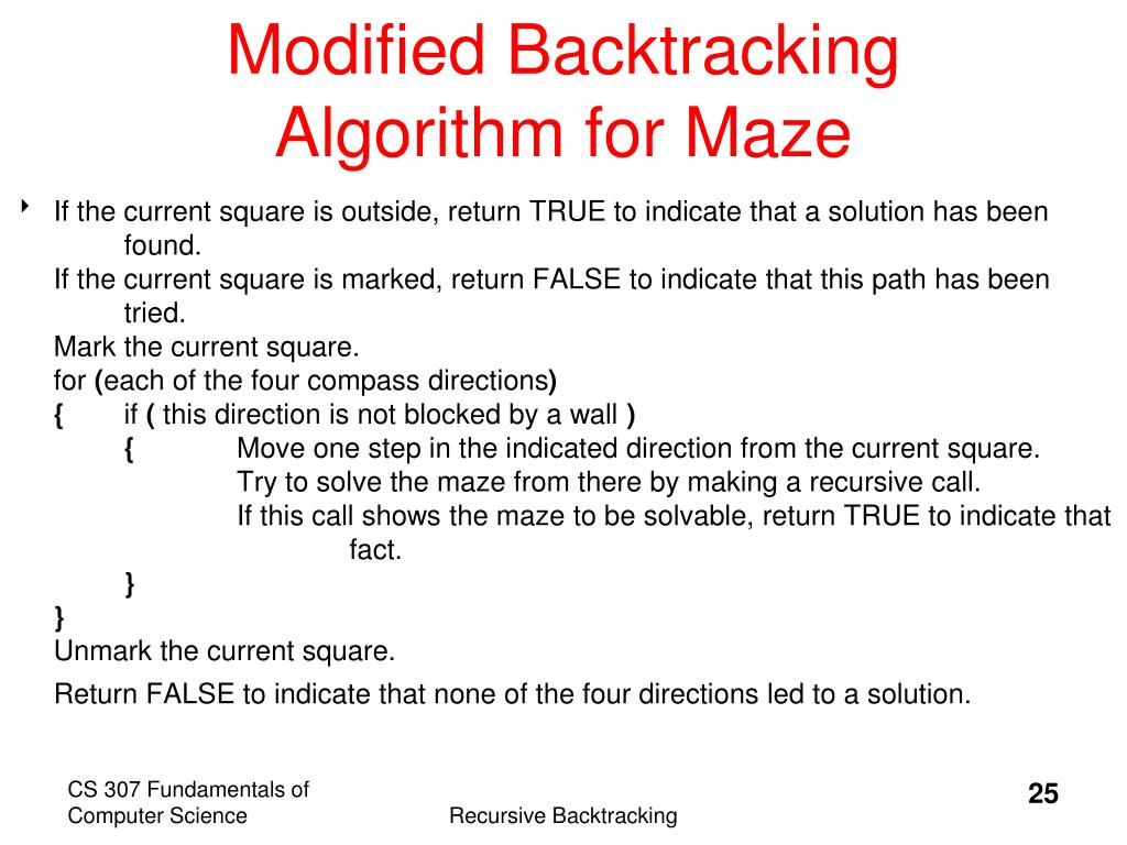 Modified Backtracking Algorithm for Maze
