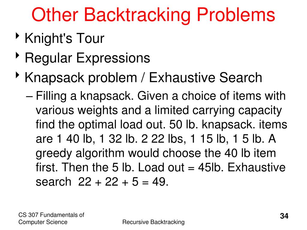 Other Backtracking Problems