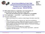 president and committee reports support services registration9