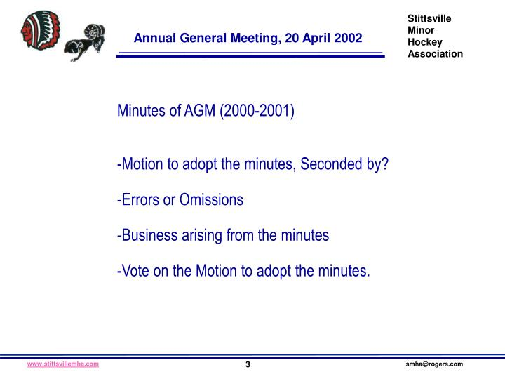 Minutes of AGM (2000-2001)