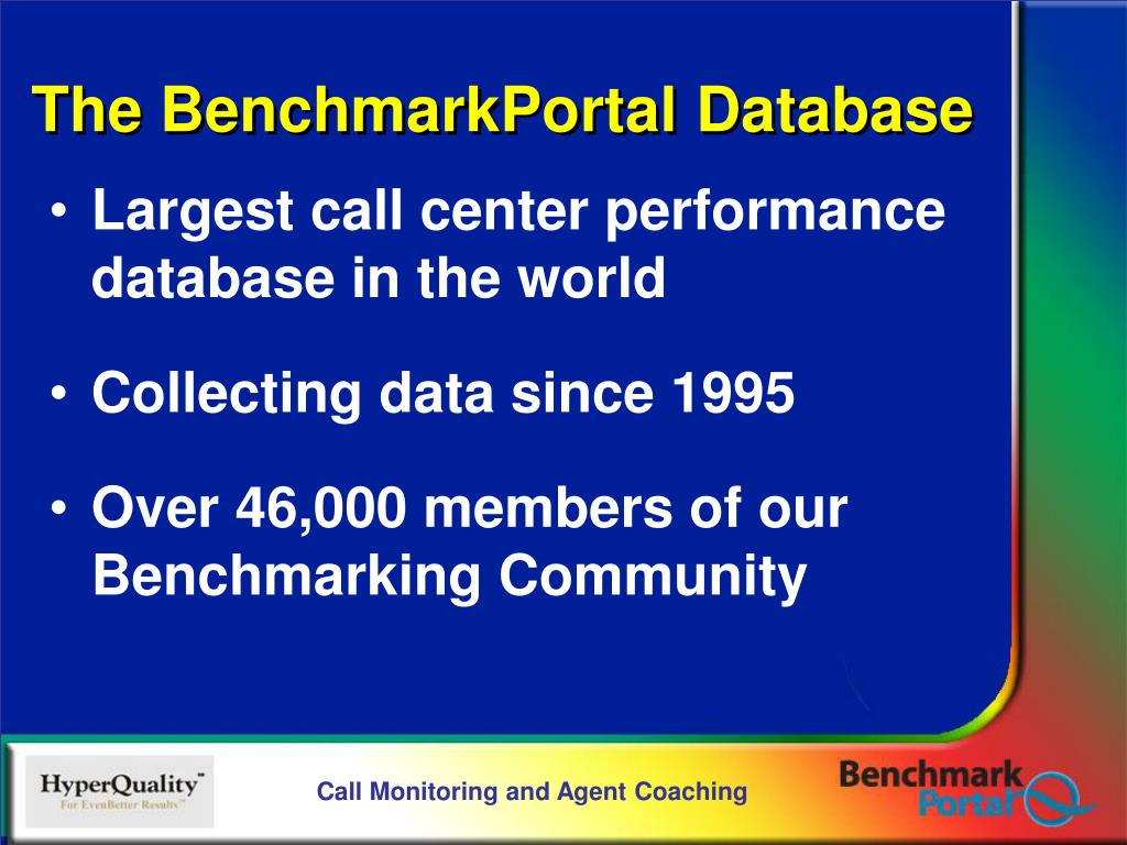 Largest call center performance database in the world