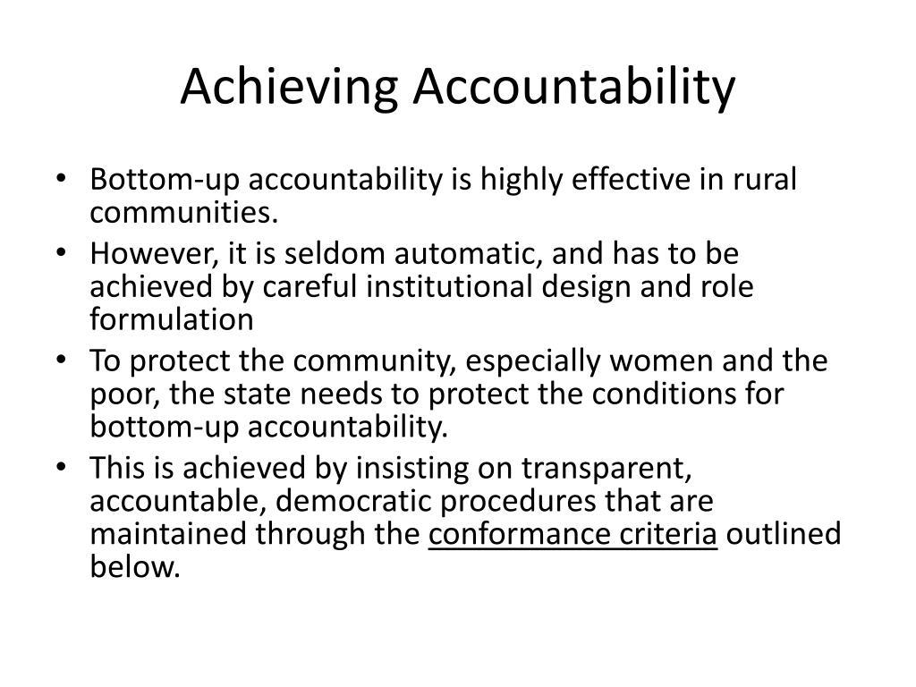 Achieving Accountability