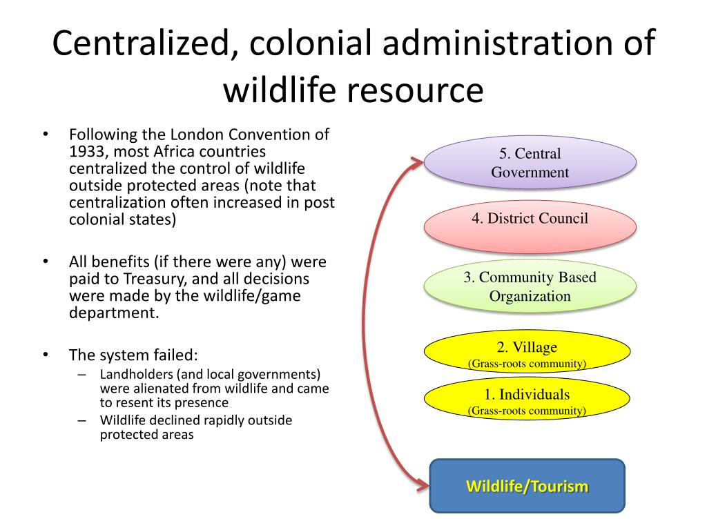 Centralized, colonial administration of wildlife resource