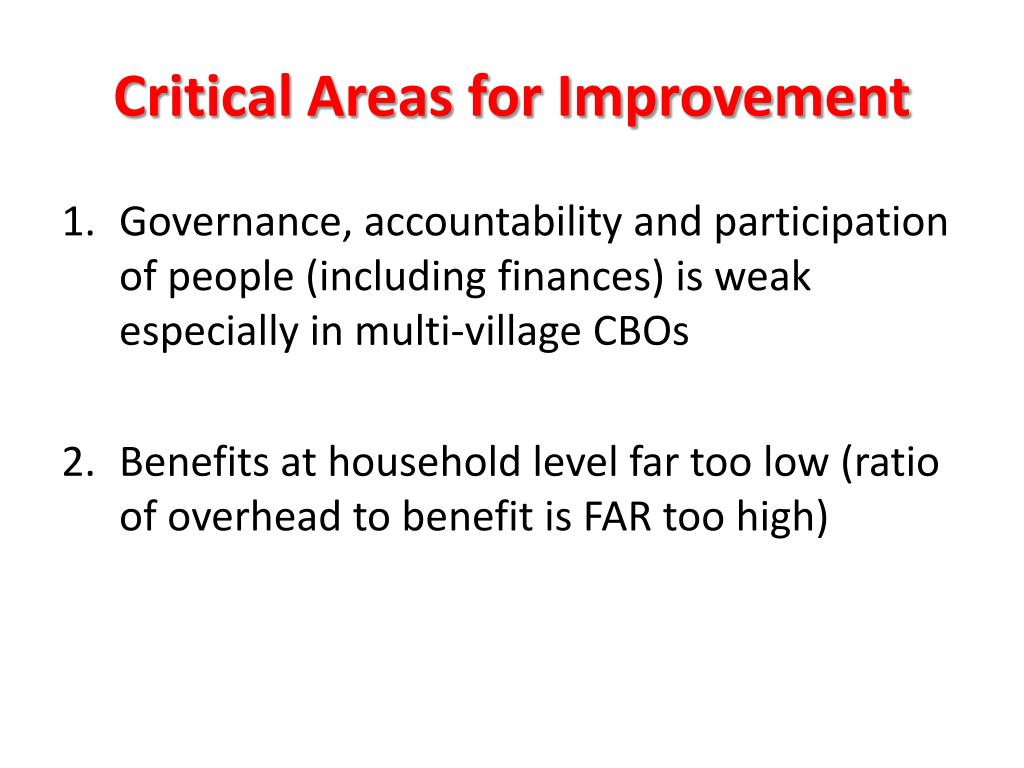 Critical Areas for Improvement