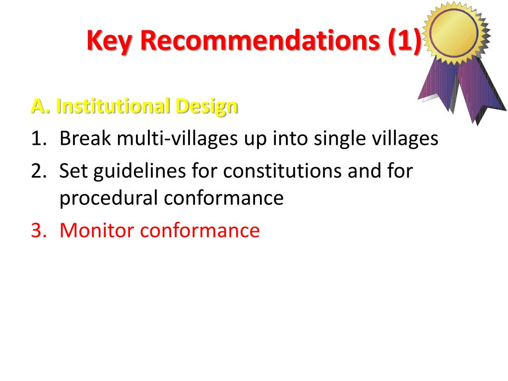 Key Recommendations (1)