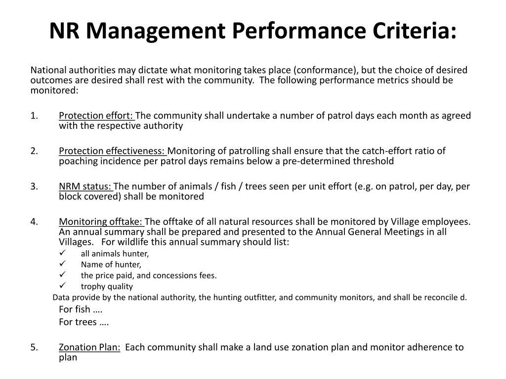 NR Management Performance Criteria: