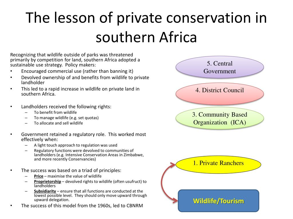 The lesson of private conservation in southern Africa