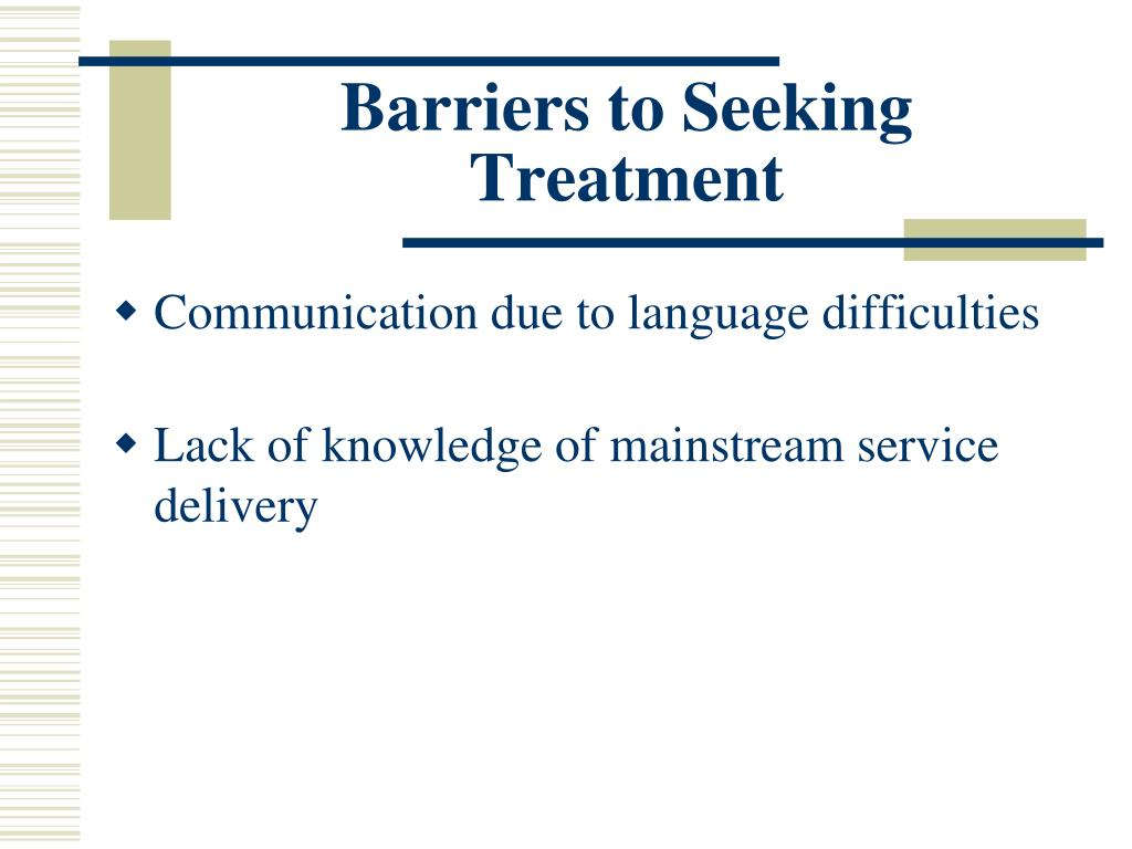 Barriers to Seeking Treatment