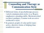 counseling and therapy as communication style