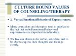 culture bound values of counseling therapy55