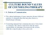 culture bound values of counseling therapy61