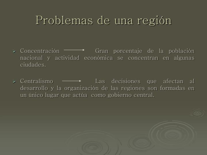 Problemas de una región