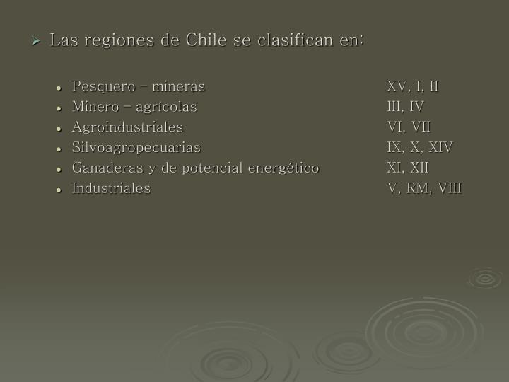 Las regiones de Chile se clasifican en: