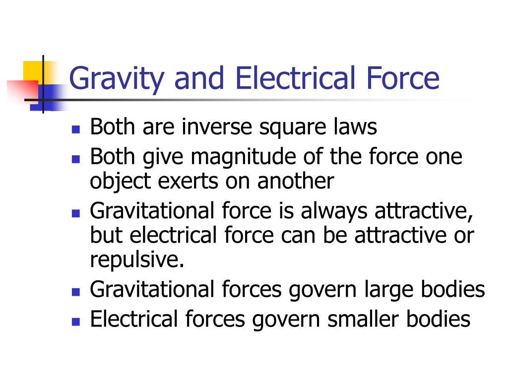 Gravity and Electrical Force