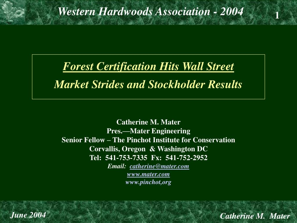 Forest Certification Hits Wall Street