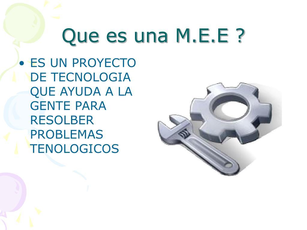 Que es una M.E.E ?