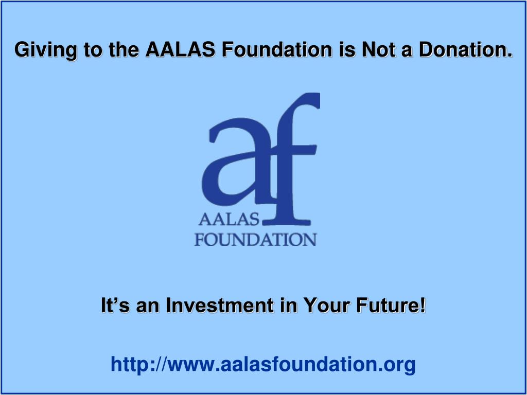 Giving to the AALAS Foundation is Not a Donation.