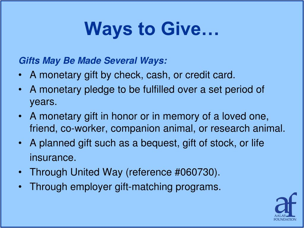 Ways to Give…