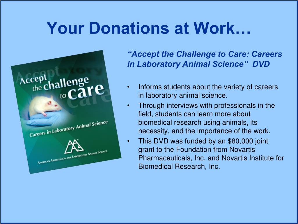 """Accept the Challenge to Care: Careers in Laboratory Animal Science""  DVD"